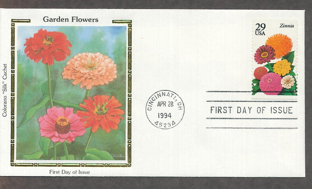 Garden Flowers, Zinnia, Colorano Silk, First Issue USA!
