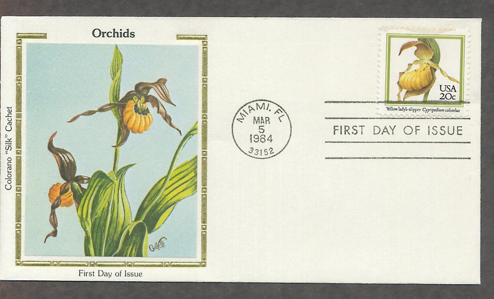 Native American Orchids, Yellow Lady's Slipper, Cypripedium calceolus Silk First Issue USA!