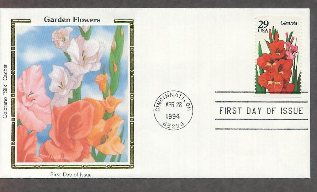 Garden Flowers, Gladiola, Colorano Silk, First Issue USA!