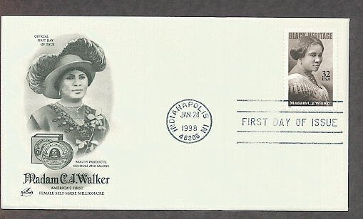 Black History, Madam C. J. Walker, First Self-Made Millionaire Woman, First Issue USA!