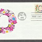 Love in Flowers 1982 Postage Stamp,  Valentine Wreath Design, First Issue USPS USA!