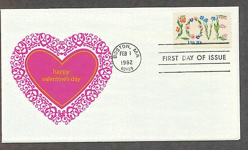 Love in Flowers 1982 Postage Stamp, Happy Valentine's Day Heart Design, First Issue USPS USA!