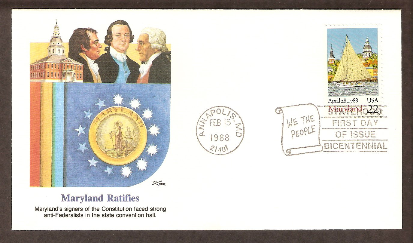 Maryland Statehood Bicentennial, First Issue FDC USA