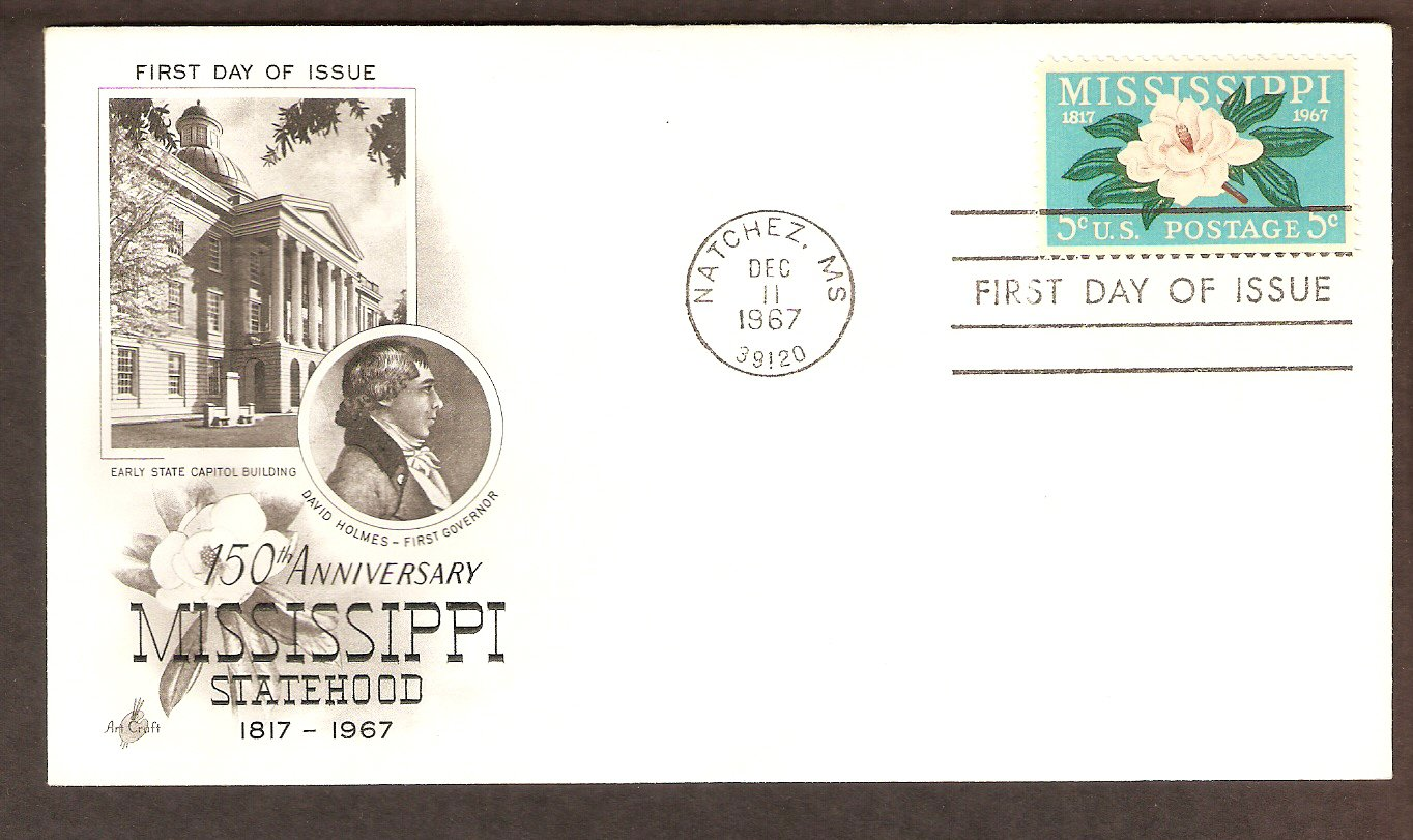Mississippi Statehood Anniversary, Magnolia Flower Blossom, First Issue USA