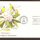 Washington Birds and Flowers, American Goldfinch, Rhododendron, FW First Issue USA