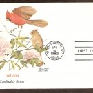 Indiana Birds and Flowers, Cardinal and Peony, FW First Issue USA