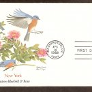 New York Birds and Flowers, Eastern Bluebird and Rose, FW First Issue USA