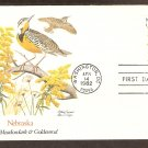Nebraska Birds and Flowers, Western Meadowlark, Goldenrod, FW First Issue USA