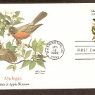 Michigan Birds and Flowers, Robin and Apple Blossom, FW First Issue USA
