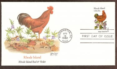 Rhode Island Birds and Flowers, Rhode Island Red, Violet, FW First Issue USA