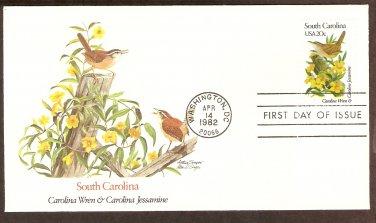 South Carolina Birds and Flowers, Carolina Wren, and Carolina Jessamine, FW First Issue USA
