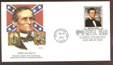 Civil War Jefferson Davis, President of the Confederacy, Gettysburg, First Issue USA