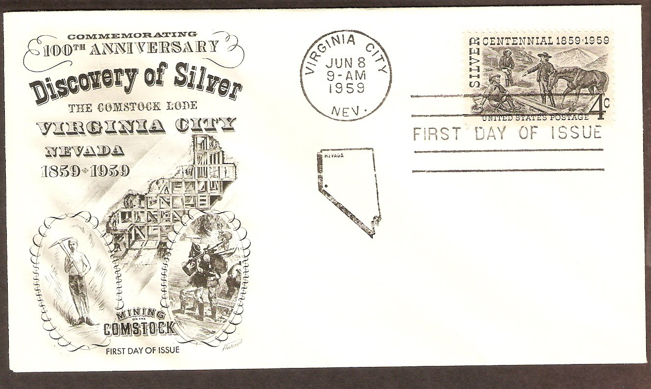 100th Anniversary of the Discovery of Silver, Comstock Lode, Nevada FW First Issue USA