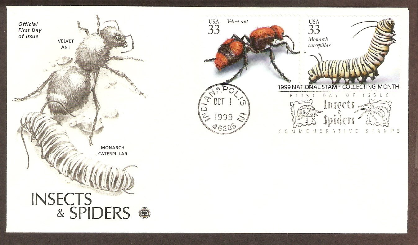 Insects and Spiders, Velvet Ant, Monarch Caterpillar, PCS, First Issue USA