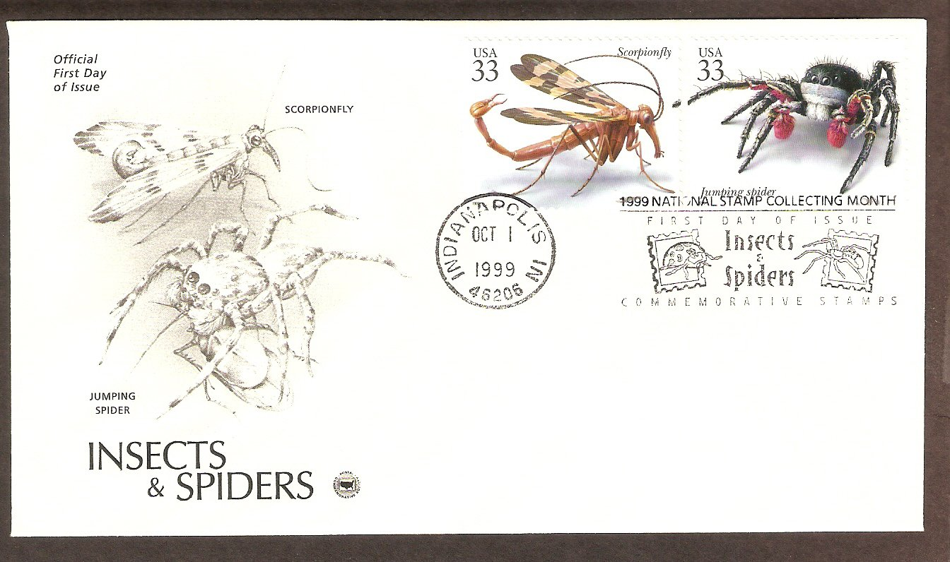 Insects and Spiders, Scorpionfly, Jumping Spider, PCS, First Issue USA