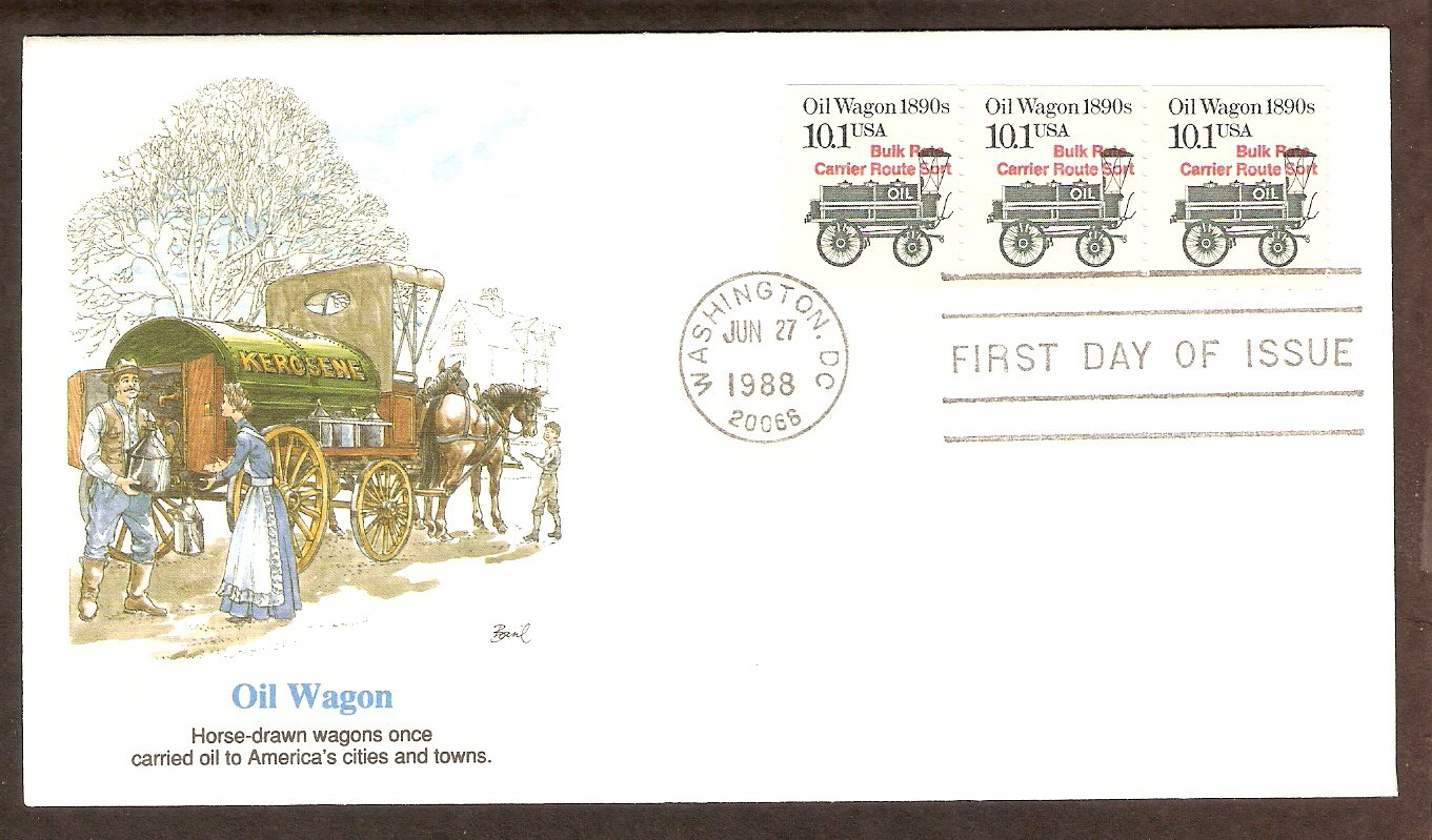 Horse Drawn Oil Wagon 1890s, FW First Day of Issue, USA