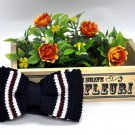 New High Quality Fashion Knitted Bow Tie For Men Navy Blue With Red White Stripe