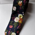 New High Quality Fashion Narrow Floral Cotton Tie For Men Black