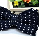 New High Quality Fashion Knitted Bow Tie For Men Navy Blue With White >