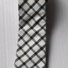 New High Quality Fashion Narrow Tie For Men White Gray Plaid