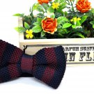 New High Quality Fashion Knitted Bow Tie For Men Navy Blue With Marron Stripe