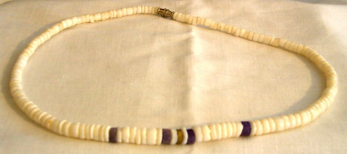 Beautiful White/Purple Stone/Shell/Coral Necklace