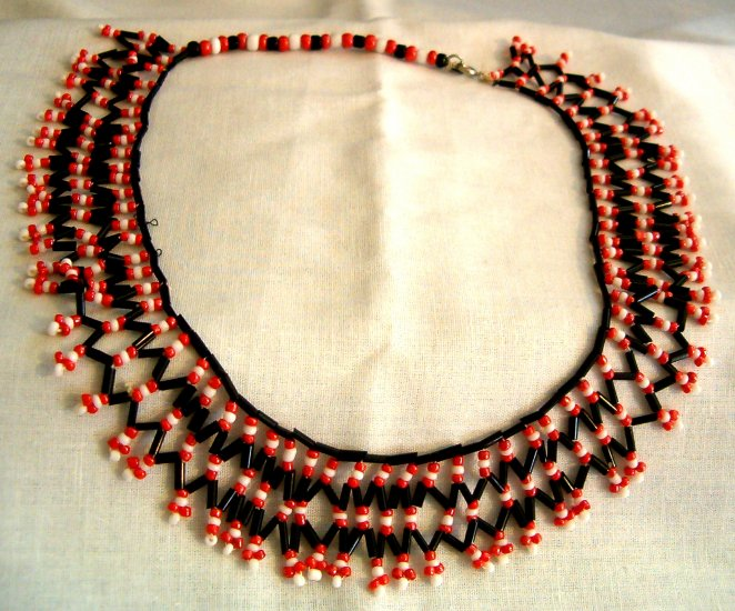 Black, Red & White Hand Beaded Necklace