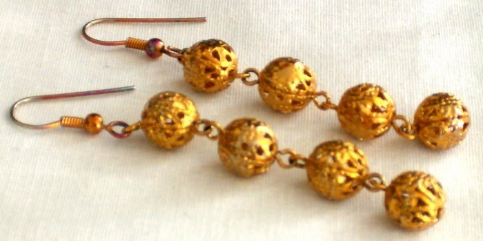 Gold Plated Hanging Balls Earrings