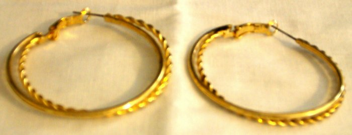 "2"" Gold Plated Twisted Hoop Earrings"