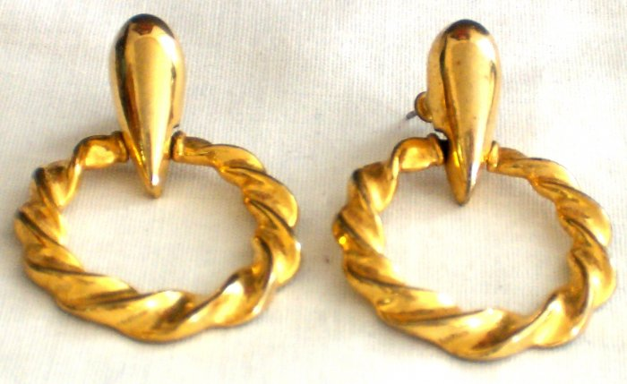 Gold Plated Tear Drop &Twisted Hoop Design Earrings