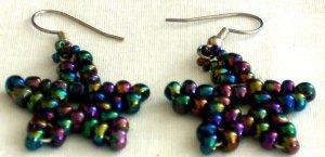 Handed Beaded Multi-Color Star Earrings