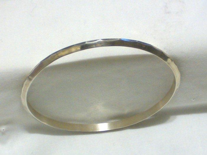 Unique Sterling Silver Bangle Bracelet With Hammered Ridge Design