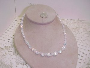 Vintage AB Crystals Single Strand Necklace  A642* tnk-ent
