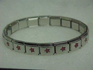 Silvertone & Red Stars Metal Expandable Bracelet A466 tnk-ent