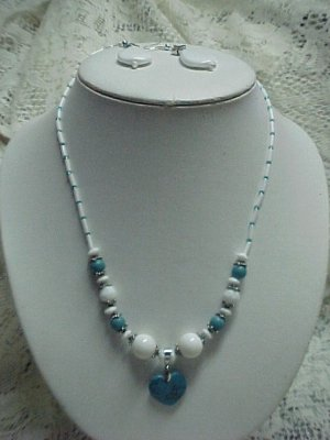 Turquoise & White Beaded Jewelry Set  A542  tnk-ent