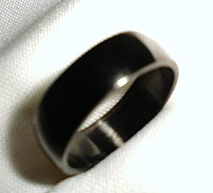 Plain black stainless steel jewelry ring band size 8