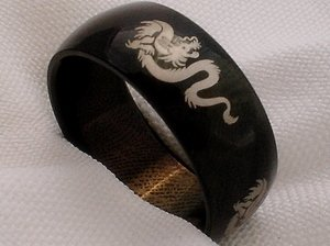 Unisex black stainless steel dragon jewelry ring band size 6