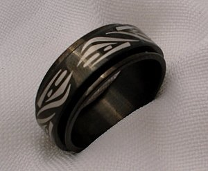Black stainless steel spin spinner mexican jewelry ring band 11 12