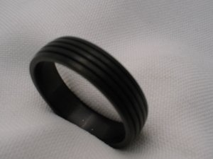 Mens plain black stainless steel jewelry ring band size 12