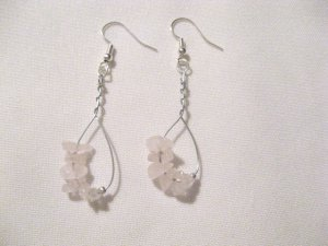 Handcrafted rose quartz chip silver wire bead earrings