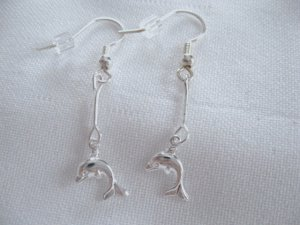 Cute silver stick DOLPHIN earrings handcrafted jewelry