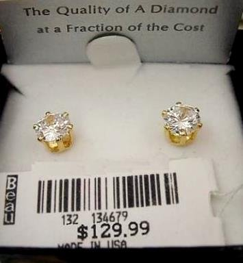 Solid 14K Gold Diamond Cubic Zirconia Earrings 2 carats 8mm 129.00$ ! Jewelry