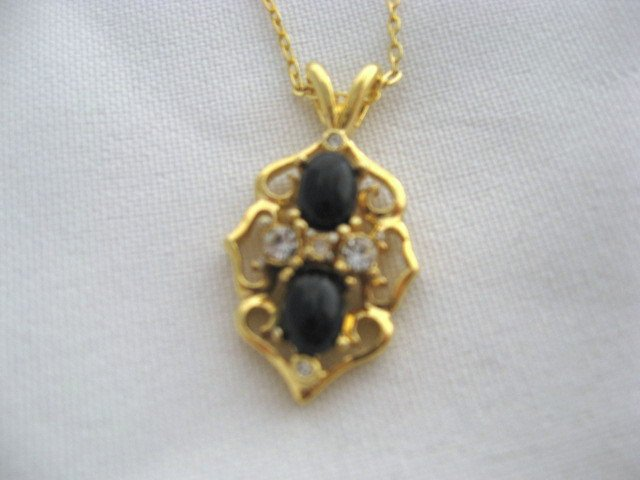 14k Gold Plated Onyx & CZ stones chain necklace pendant jewelry