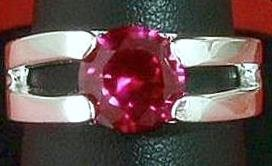 Created Ruby red Sterling Solitaire Ring band size 9