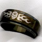 Unisex black spinning skull steel jewelry ring size 7
