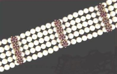 FIVE Strand 14KT Cultured PEARL & RUBY BRACELET 14 kt