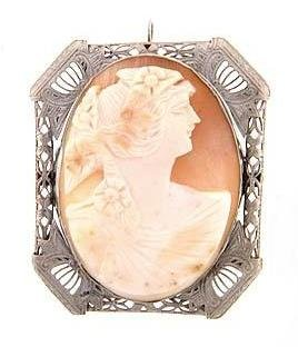 Large 14KT White Gold Cameo Estate Brooch / Pendant 14 kt