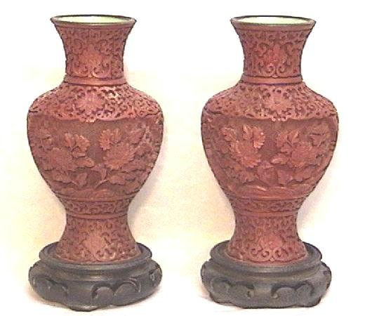 Pair Estate Cinnabar Vases with Teak Stands