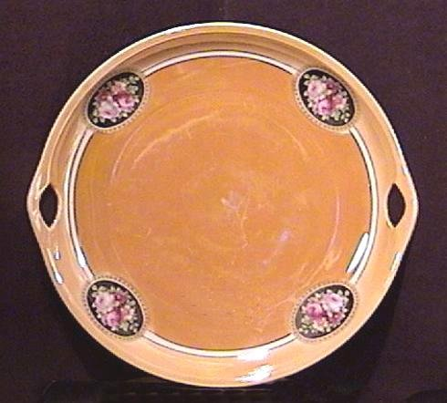 Peach Lustre Two Handled Plate, Germany