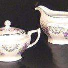 Violets CREAMER & SUGAR BOWL Germany CA.1930